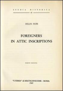 Foreigners in attic inscriptions (1947) - H. Pope - copertina