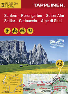 Sciliar-Catinaccio-Alpe di Siusi. Carta topografica 1:25.000. Con panoramiche 3D e consigli sugli itinerari. Ediz. italiana e tedesca - copertina