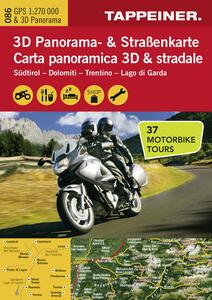 Südtirol. Dolomiti. Trentino. Lago di Garda. Carta mototuristica, carta panoramica 3D & stradale. Ediz. italiana e tedesca - copertina