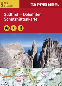 Cartina dei rifugi. Alto Adige-Dolomiti. Ediz. italiana e tedesca - copertina
