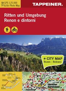 Renon e dintorni. Carta topografica 1:25.000. Con foto panoramica con consigli sugli itinerari. Ediz. italiana e tedesca - copertina