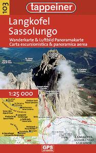 Sassolungo. Carta escursionistica & panoramica aerea 1:25.000. Ediz. italiana e tedesca - copertina