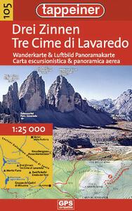 Tre Cime di Lavaredo. Carta escursionistica & panoramica aerea 1:25.000. Ediz. italiana e tedesca