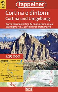 Cortina e dintorni. Carta escursionistica & panoramica aerea 1:25.000. Ediz. italiana e tedesca - copertina