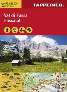 Val di Fassa. Cartina topografica. Carta panoramica 3D. Ediz. italiana e tedesca - copertina