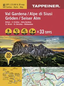 Val Gardena-Alpe di Siusi. Ortisei, S. Cristina, Selva Gardena. Cartina topografica. Carta panoramica 3D. 1:25.000 Ediz. italiana e tedesca - copertina