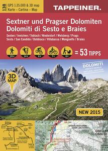 Dolomiti di Sesto e Braies. Cartina topografica. Carta panoramica 3D. 1:35.000 Ediz. italiana e tedesca