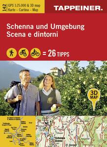 Kombinierte Wanderkarte Schenna und Umgebung. Topografische Wanderkarte 1:25000. Mit 3D-Panoramabild und Outdoorripps. Ediz. italiana e tedesca - copertina