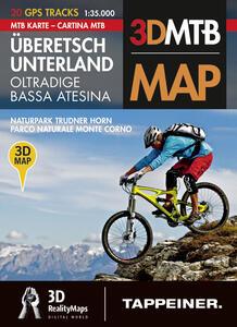 Cartina MTB Oltradige Bassa Atesina, parco naturale monte Corno. Cartina topografica 1:35000. Con panoramiche 3D. Ediz. italiana e tedesca