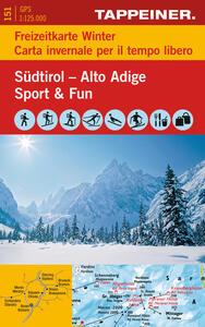 Sudtirol sport & fun-freizeitkarte winte. Topografische Südtirolkarte 1:125.000