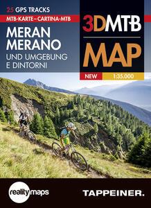 Cartina MTB Merano e dintorni. Cartina topografica 1:35.000. Con panoramiche 3D. Ediz. italiana e tedesca - copertina