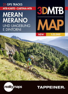 Listadelpopolo.it Cartina MTB Merano e dintorni. Cartina topografica 1:35.000. Con panoramiche 3D. Ediz. italiana e tedesca Image