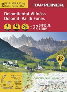 Dolomiti Val di Funes. Cartina topografica. Carta panoramica 3D