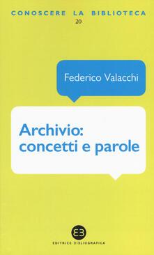 Archivio: concetti e parole - Federico Valacchi - copertina