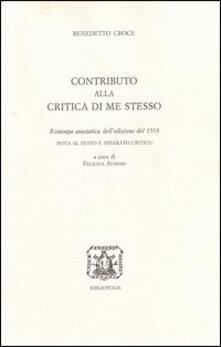 Contributo alla critica di me stesso - Benedetto Croce - copertina