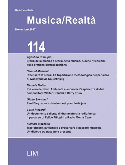 Image of Musica/realtà (2017). Vol. 114: Novembre.