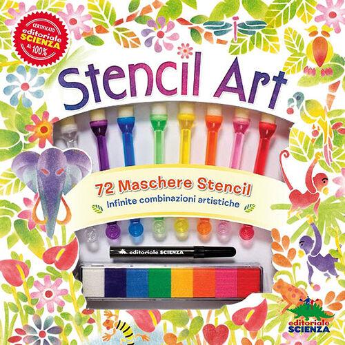 Stencil art. Con 72 maschere stencil, 8 cuscinetti di inchiostro colorato, 8 pennelli spugna, un pennarello nero