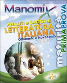 Manomix. Analisi e saggi di letteratura italiana '800-'900 - copertina