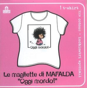 T-Shirt Mafalda a maniche corte, donna, taglia S. Bianco. Oggi mordo!