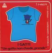 Idee regalo T-Shirt Gatti a maniche corte, donna, taglia S. Un gatto non chiede, prende. Azzurro Magazzini Salani