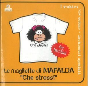 T-Shirt Mafalda a maniche corte, bambino 5/6 anni. Bianco. Che stress!