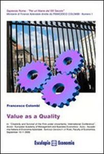 Value as a quality - Francesco Colombi - copertina