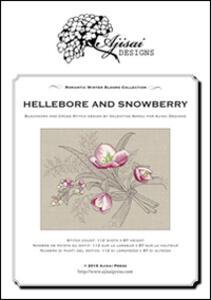 Hellebore and snowberry. Cross stitch blackwork design. Ediz. italiana, inglese e francese