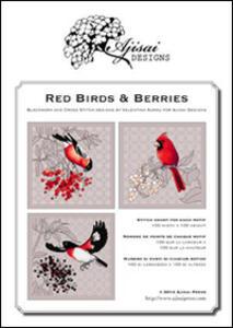 Red birds & Berries. Cros stitch and blackwork designs