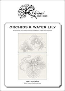 Orchids & water lily. A blackwork designs