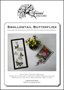 Swallowtail butterflies. Cross stitch and blackwork design