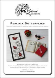 Peacock butterflies. Cross stitch and blackwork design
