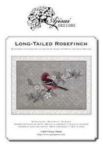 Long-tailed Rosefinch. Cross stitch and blackwork design. Ediz. italiana, inglese e francese