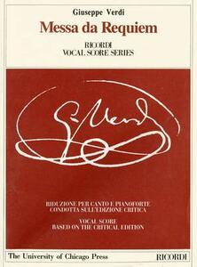 Messa da requiem per l'anniversario della morte di Manzoni, 22 maggio 1874. Riduzione per canto e pianoforte (prefazione in italiano e inglese) - Giuseppe Verdi - copertina