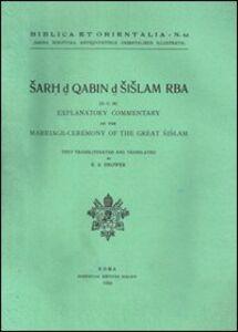 Sarh d Qabin d Sislam Rba (D.C.38). Explanatory commentary on the marriage ceremony of the great sislam