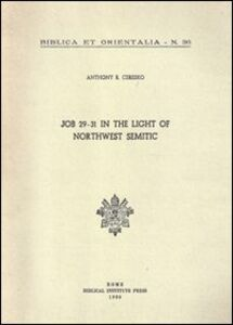 Job 29-31 in the light of northwest semitic. A translation and philological commentary