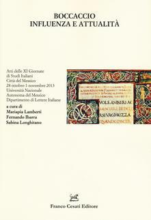 Boccaccio. Influenza e attualità. Atti delle 11° giornate di studi italiani (Città del Messico, 28 ottobre-1 novembre 2013) - copertina