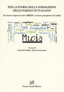 Per la storia della formazione delle parole in italiano. Un nuovo corpus in rete (MIDIA) e nuove prospettive di studio - copertina