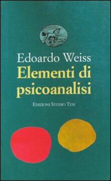 Elementi di psicoanalisi - Edoardo Weiss - copertina
