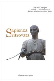 Sapienza ritrovata - Angelo Tonelli - copertina