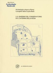 Archeologia urbana a Roma: il progetto della Crypta Balbi. Vol. 3: Il giardino del Conservatorio di Santa Caterina della Rosa.