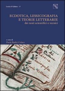 Ectodica, lessicografia e teorie letterarie dei testi scientifici e tecnici