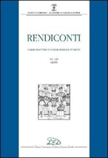 Rendiconti. Classe di lettere e scienze morali e storiche (2005). Vol. 139 - copertina