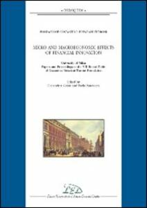 Micro and macroeconomic effects of financial innovation. University of Milan. Papers and proceedings of the VIII round table of Costantino Bresciani Turroni...