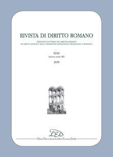 Rivista di diritto romano. Nuova serie (2018). Vol. 18 - copertina