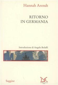 Ritorno in Germania - Hannah Arendt - copertina