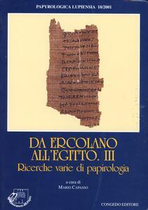 Papyrologia lupiensa. Vol. 10\3: Da Ercolano all'Egitto. Ricerche varie di papirologia.