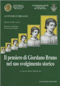 Foto Cover di Il pensiero di Giordano Bruno nel suo svolgimento storico, Libro di Antonio Corsano, edito da Congedo
