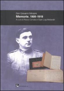 Don Giovanni Minzoni. Memorie. 1909-1919 - copertina