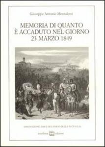 Memoria di quanto è accaduto nel giorno 23 marzo 1849. La battaglia di Novara nel diario di un parroco