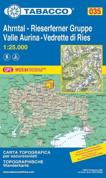 Valle Aurina Cartina Geografica.Valle Aurina Vedrette Di Ries 1 25 000 Libro Tabacco Carte Topografiche Per Escursionisti Ibs
